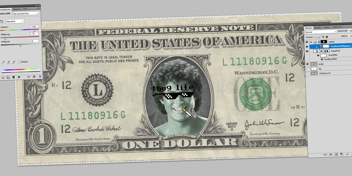 Hasselhoff Dollar - Photoshop Tutorial: Verktyg, beskärning, trollstav och masker